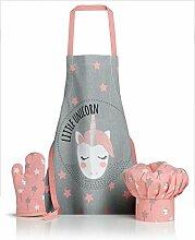 Tablier, toque et gant de cuisine Unicorn perle 52