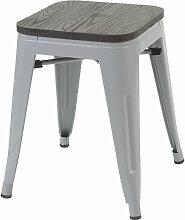 Tabouret 908, avec siège en bois, métal, style