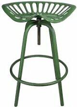 Tabouret avec assise de tracteur en métal vert