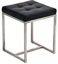 Tabouret bas avec siège en similicuir noir - 48 x