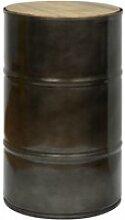 Tabouret bas bidon industriel metal 38 dia x 60 cm