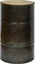 Tabouret bas bidon industriel metal 38 dia x 62 cm