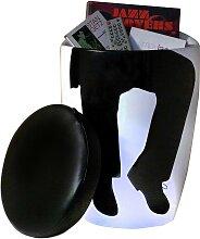 Tabouret bas design noir et blanc silhouette homme