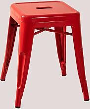 Tabouret bas en acier LIX Rouge Acier - Rojo -