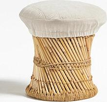 Tabouret Bas en Bambou Thëss Bambou - Blanc -