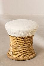 Tabouret Bas en Bambou Thëss Blanc Sklum