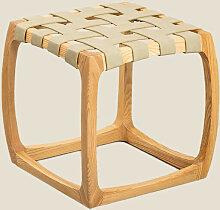 Tabouret bas en bois de frêne et similicuir Simon