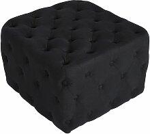 Tabouret bas Pouf cubique Lugo en tissu noir