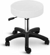 Tabouret chaise siège de bureau à roulette blanc