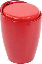 Tabouret Coffre Annecy en Similicuir rouge