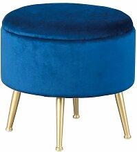 Tabouret Coffre En Velours melville 38cm Bleu -