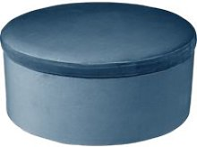 Tabouret coffre en velours tess - h. 44 cm - bleu