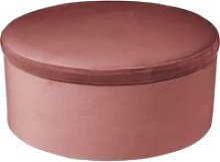 Tabouret coffre en velours tess - h. 44 cm - rose