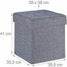 Tabouret coffre pouf avec espace de rangement gris