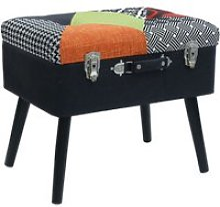 Tabouret coffre valise patchwork - multicolore