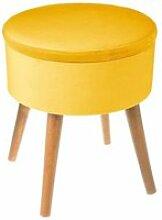 Tabouret coffre velours moutarde