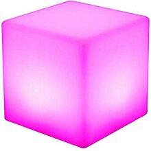 Tabouret cube lumineux à LED 43,5 cm - 16