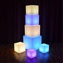 Tabouret cube lumineux à LED changeant de couleur