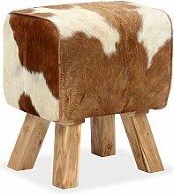 tabouret cuir véritable de chèvre 40 x 30 x 45