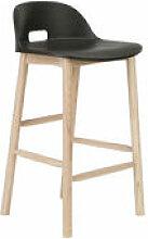 Tabouret de bar Alfi / H 80 cm - Piètement frêne