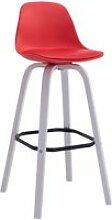 Tabouret de bar avika plastique , rouge/blanc
