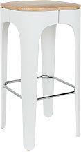 Tabouret de bar bois 73cm blanc