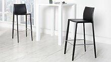 Tabouret de bar cuir noir chaise haute - Paulo