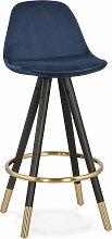 Tabouret de bar design bois noir et velours bleu
