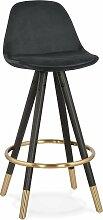 Tabouret de bar design bois noir et velours noir