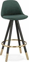 Tabouret de bar design bois noir et velours vert