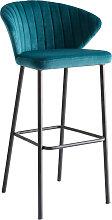 Tabouret de bar design velours bleu pétrole H78