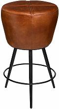 Tabouret de Bar en cuir Cognac - Atmosphera