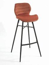 Tabouret de bar Hugo pieds métal/velours orange