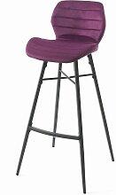 Tabouret de bar Hugo pieds métal/velours violet