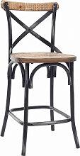 Tabouret de bar industriel en bois et métal