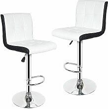 Tabouret de Bar Lot de 2 Noir + Blanc Chaise de
