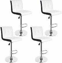 Tabouret de Bar Lot de 4 Noir + Blanc Chaise de