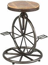 Tabouret de bar route de vélo en bois et métal -