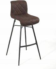 Tabouret de bar Scott pieds métal/tissu marron