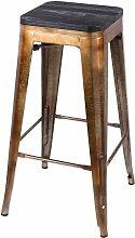 Tabouret de bar vintage Liv - 42 x 42 x 77 - Noir