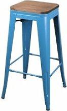 Tabouret de bar vintage liv - h. 77 cm - bleu