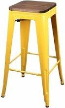 Tabouret de bar vintage liv - h. 77 cm - jaune