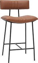 Tabouret de bar vintage marron clair et métal H65