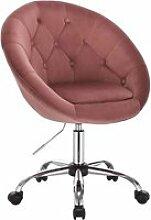 Tabouret de bureau avec dossier en velours rose