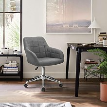 tabouret de bureau avec dossier lin gris foncé