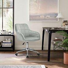 tabouret de bureau avec dossier velours gris clair