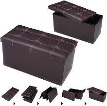 Tabouret de cube pouf pliable banc coffre