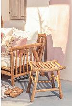 Tabouret de jardin bas en bois de teck Narel