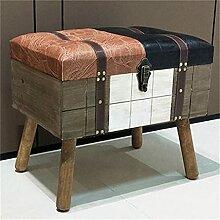 Tabouret de rangement rectangulaire en cuir avec