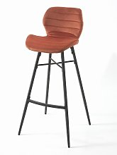 Tabouret de snack Hugo pieds métal/velours orange